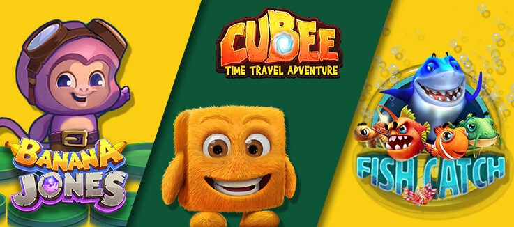 "Cubee and Banana Jones characters with ""Gamification"" written below them"