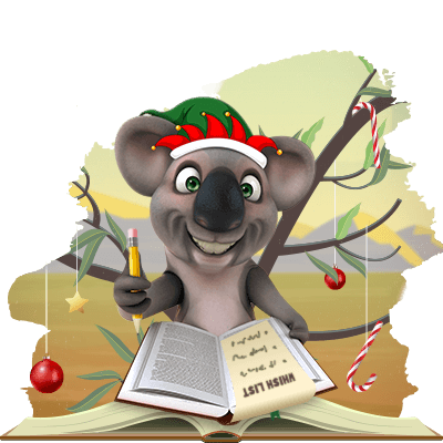 Kev the Koala is making his Christmas wish list
