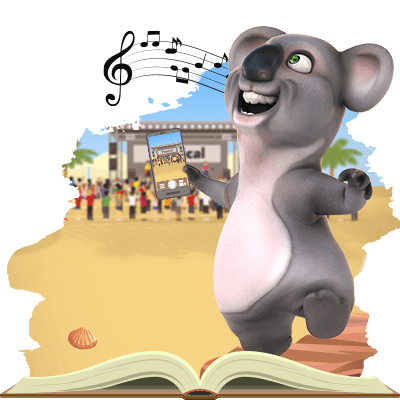 Kev the koala from Fair Go is jamming to his favourite music